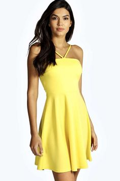 $16, Yellow Skater Dress: Boohoo Nina Strappy Scuba Skater Dress. Sold by BooHoo. Click for more info: https://lookastic.com/women/shop_items/227336/redirect