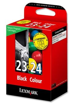 Lexmark No. 23 and No. 24 Inkjet Cartridge Page Life 215/185pp Black/C - Combo Return Programme Printer Cartridge PackGenuine Lexmark cartridges generate optimum print quality using fade-resistant, concentrated dye based inks in small ink drop size for vibrant colour, clarity and detail for brilliant photos and sharp images  - http://ink-cartridges-ireland.com/lexmark-no-23-and-no-24-inkjet-cartridge-page-life-215185pp-blackc/ - 215/185pp, 23, 24, and, Black/C, cartridge, Ink