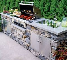 outdoor kitchen ideas, This is a great island idea for your outdoor living space. I really like the look of stones in the outdoor bbq area. With the lighter concrete counter top. Home Design, Design Ideas, Interior Design, Outdoor Rooms, Outdoor Living, Outdoor Patios, Built In Grill, Built In Braai, Outdoor Kitchen Design