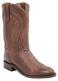 Smoky Mountain Youths Sienna Stitched Pull On Straps Narrow Round Toe Tan Western Boots