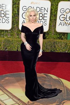 Lady Gaga in custom Versace. Hands-down the most beautiful, elegant, classy, spectacular look at the Golden Globes last night. Jan 2016.