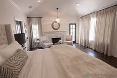 A Well Dressed Home - bedrooms - Pottery Barn Clarissa Glass Drop Chandelier, clarissa glass drop chandelier, sitting area, bedroom sitting . Bedroom Retreat, Dream Bedroom, Home Bedroom, Bedroom Decor, Bedroom Ideas, Master Bedroom Makeover, Master Bedroom Design, Master Bedrooms, Bedroom Fireplace