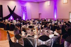 silver and black wedding decor