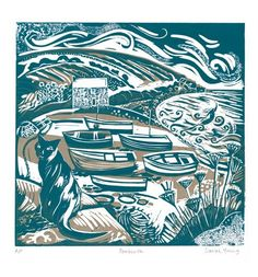 'Penberth' linocut by Sarah Young by letha, note the sky patterns
