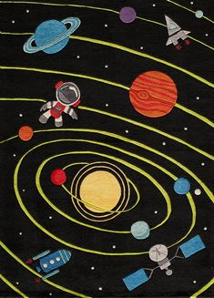 Momeni Lil Mo Whimsy Solar Black Indoor Kids Area Rug brings marvelous and tremendous look to your living room. Hand Tufted with craftsmanship and detail. Planet For Kids, Kids Area Rugs, Retro Robot, Whimsical Fashion, Black Rug, Color Black, Color 2, Hand Tufted Rugs, Accent Rugs