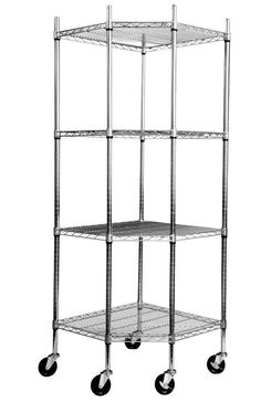 TRINITY EcoStorage 4-Tier NSF Corner Wire Shelving Rack With Wheels  Chrome