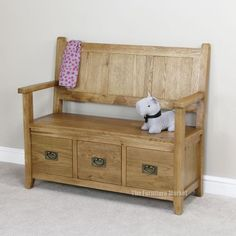 Cheshire Oak Monks Bench - Hall Seating Shoe Storage Rustic Furniture Oak41
