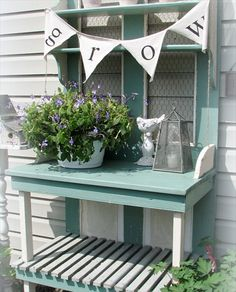 Outdoor Decor - Potting Bench Old door potting bench Outdoor Potting Bench, Pallet Potting Bench, Potting Tables, Rustic Potting Benches, Salvaged Doors, Old Doors, Repurposed Doors, Recycled Door, Wood Pallets