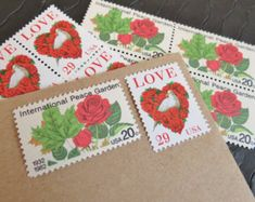 Roses are Red .. UNused Vintage Postage Stamps  .. post 5 letters