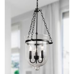 Antique Copper-Finish 60-Watt Glass Lantern Chandelier - Free Shipping Today - Overstock.com - 12311978 - Mobile