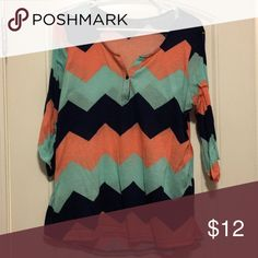 Chevron Top xl Blue, teal and coral chevron top. Extra large. Worn a few times Tops Blouses