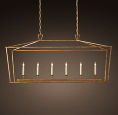 19th C. English Openwork Linear Pendant - Gilded Iron