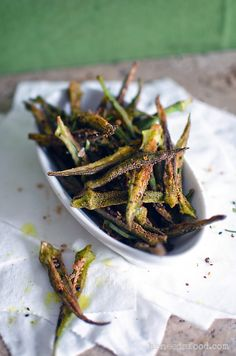 Spiced Deep Fried Okra! A Southern fave, with a twist! They are addictive, snack-a-licious! Mmmmmm! Oooh I want to try:-) love okra
