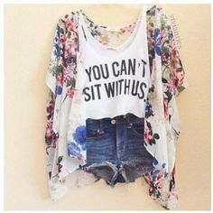 flower printed kimono - tank top [graphic] - jeans instead of shorts [acid wash?]
