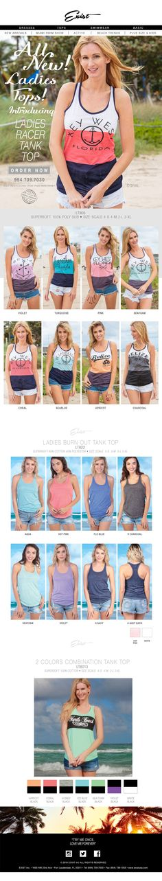 All New Ladies Tops! Available Now! Best Sellers! #existUSA #ladiestanktops #tanktops #ladiestops #beachmodel