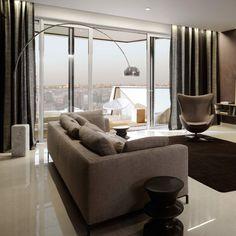 Free Standing Lamps, Arco Floor Lamp, Apartment Lighting, Living Room Lighting, Room Lights, Oeuvre D'art, Flooring, Interior Design, Home Decor