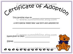 1000 images about teddy adoption on pinterest for Build a bear birth certificate template