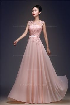 A-Line/Princess Jewel Floor-length Chiffon Lace Prom Dress