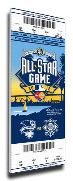 2016 MLB All Star Game Canvas Mega Ticket - San Diego Padres Host
