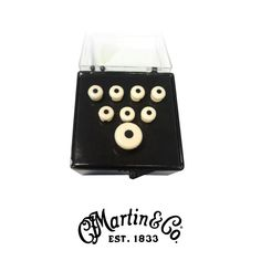 Martin Inlaid Bass Bridge and Endpin Set - White and Black