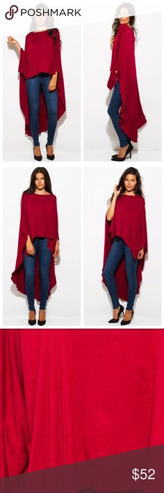 Soft jersey red hi-low dress cape tunic top Super soft rayon blend jersey tunic creates effortless drape with its dramatic hi-low hem. Model is wearing a small. Women's Fashion, Fashion Outfits, Fashion Design, Fashion Tips, Fashion Trends, Hi Low Dresses, Cape Dress, Capes, Simple Style