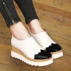 Two-Tone Platform Loafers