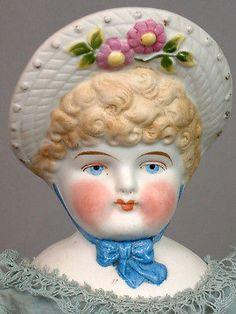 Little-Blue-Bonnet-19-Bonnet-Head-Parian-Antique-Doll-With-Morning-Glories