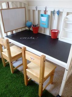 caz of a little learning for two created this adorable kids activity desk using a crib and chalkboard paint itu0027s an extremely simple diy