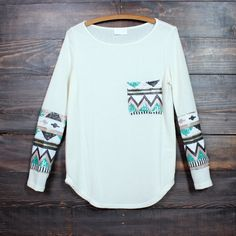 chevron sequin aztec sleeve tunic (3 colors - mint, peach, ivory)