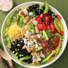 Serves 4 Prep Time: 10 Min. Change up the toppings to personalize this easy salad for everyone in your family. ½ cup Mayonnaise ½ cup Fresh or Packaged Salsa 6 cups torn Romaine Lettuce leaves 2 cu...