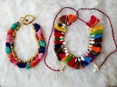 How To Make Beautiful Designs Necklace At Home With Pompom - YouTube