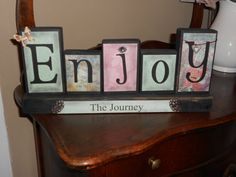 Enjoy the Journey wood block sign by RootCellarOriginals on Etsy, $22.00