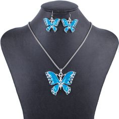 Butterfly Necklace For Women Jewelry Gold Plated Blue Crystal Design