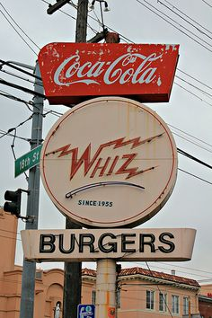 Whiz Burgers : Whiz Burgers 700 S Van Ness Ave San Francisco Old Neon Signs, Vintage Neon Signs, Old Signs, Retro Vintage, Vintage Music, Bedroom Wall Collage, Photo Wall Collage, Picture Wall, Aesthetic Collage