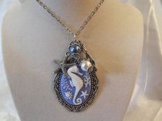 Sea Horse Cameo Necklace Blue with Pearls by AGothShop on Etsy, $15.00