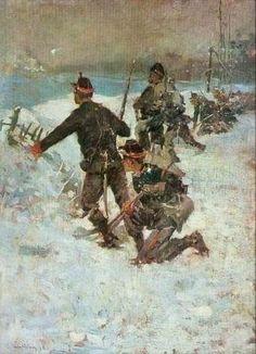 Ștefan Luchian - Inainte, baieti Vintage Wall Art, Vintage Walls, Romanian People, New Art, Masters, Art Nouveau, Snow, Paintings, Places