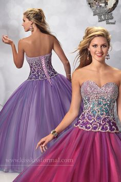 sequins and Tulle, sleeveless sweetheart prom ballgown. Embellished with ombre sequins bodice detail and lace-up back. Available in Purple Fusion or Mystic lilac.