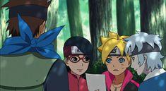 Konohamaru, Boruto, Sarada and Mitsuki - Boruto: Naruto Next Generations Naruto Uzumaki, Sasuke, Boruto Naruto Next Generations, Team 7, Doodles, Challenge, Anime, Cartoon Movies, Anime Music