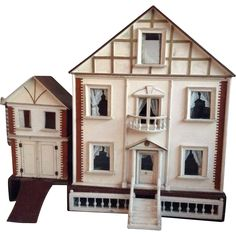Wonderful antique GJ Lines dolls house for top end of market. Circa 1895 with original coach house and pull out garden! There are four rooms and a stair case, hallway and landing. The house has its Antique Dollhouse, Dollhouse Dolls, Antique Dolls, Vintage Dolls, Vintage Stuff, Miniature Houses, Miniature Dolls, Mini Houses, Childrens Dolls