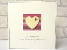 5th wedding anniversary card  romantic wooden heart card for