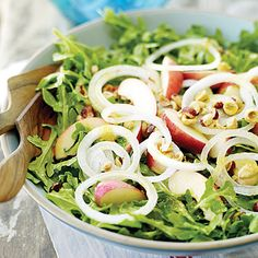 Time: 25 minutes. The slightly tart and spicy dressing bridges the flavors of the sweet white nectarines and peppery greens. Feel free to...