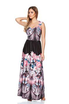 MissQ Cosy Figure Black Dress, sleeveless, print details, elastic and fine fabric