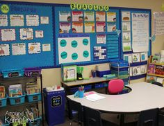 Guided reading area set up with reusable strategy posters.