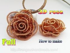 3D Rose Flower pendant - How to make handmade jewelry - full version ( s...