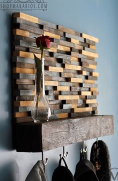 Wood Tile Coat Rack With Shelf