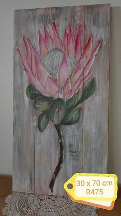 Painting On Wood, Painting Flowers, Silk Painting, Protea Art, Creative Arts And Crafts, King Art, Diy Canvas Art, Simple Art, Botanical Art