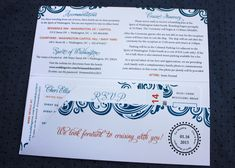 orange dark blue swirl cruise ship ticket wedding invitations