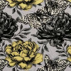 Chartreuse, Clarke & Clarke designer fabric - Papillon