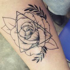 Forearm rose and triangle tattoos