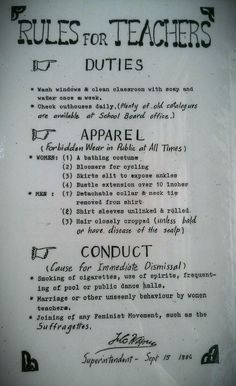 Teacher rules from the 1800s